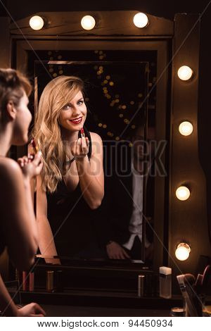 Smiling Woman Seducing Man