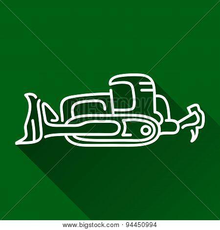 Dozer Flat Line Icon