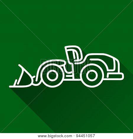 Wheel Loader Flat Line Icon