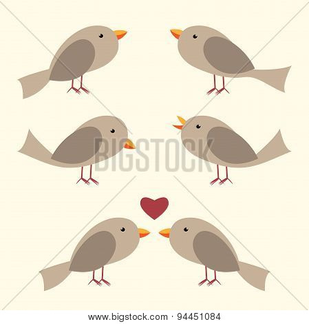 Cute Vector Birds Set