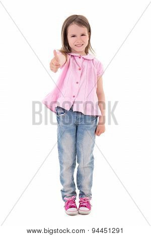 Cute Pretty Little Girl Thumbs Up Isolated On White