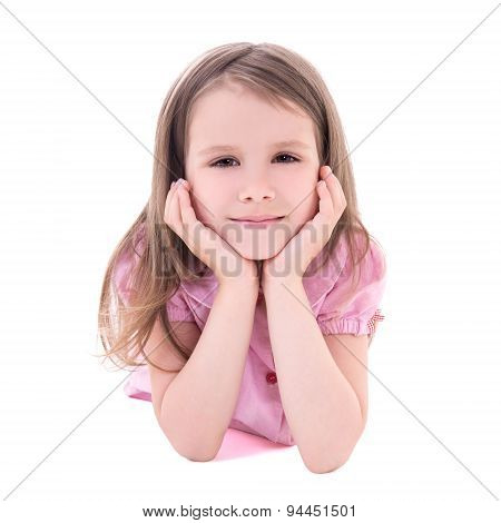 Cute Thoughtful Little Girl Lying Isolated On White