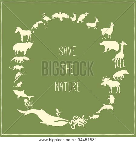Concept green poster with animals silhouettes around with text inside.