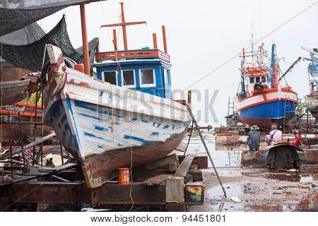Fishing vessels at shipyard in Thailand