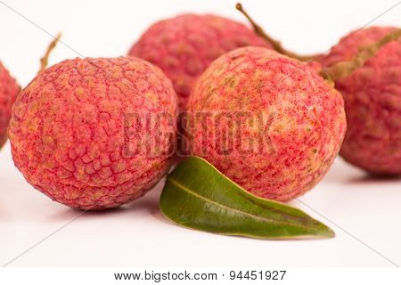 Close-up Lychees On White Background