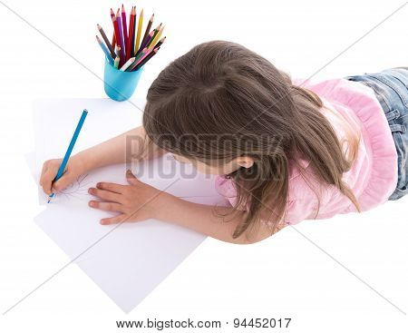Back View Of Little Girl Drawing With Colorful Pencils Isolated On White
