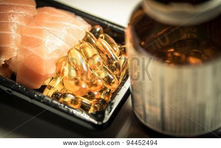 Sushi And Fish Oil Capsules Food Supplement
