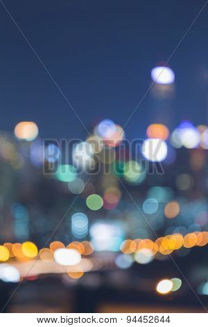 City light night view abstract blur bokeh background