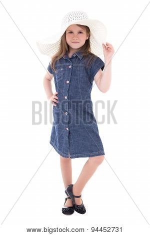 Cute Little Girl In Denim Dress And Big Summer Hat Isolated On White