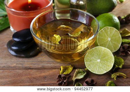 Spa still life on wooden table, closeup