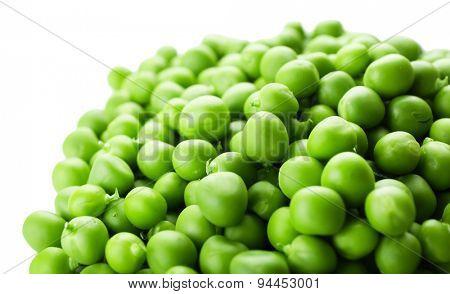 Heap of fresh green peas close up