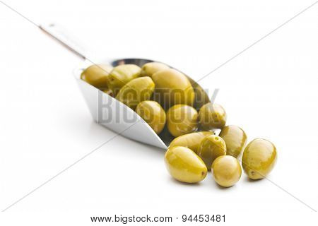 green olives in scoop on white background