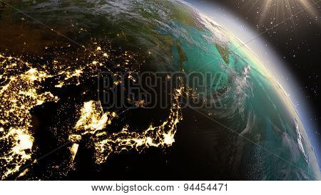 Planet Earth East Asia Zone. Elements Of This Image Furnished By Nasa