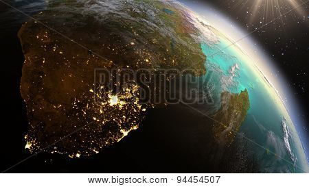 Planet Earth South Africa Zone. Elements Of This Image Furnished By Nasa