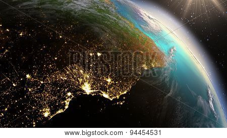 Planet Earth South America Zone. Elements Of This Image Furnished By Nasa