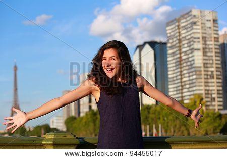 Beautiful Girl Have Fun In Paris, France