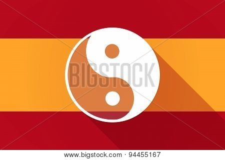 Spain  Long Shadow Flag With A Ying Yang