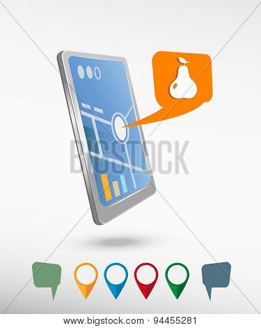Pear With Leaf Sign Icon And Perspective Smartphone Vector Realistic