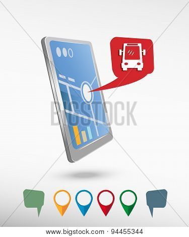 Bus Icon And Perspective Smartphone Vector Realistic