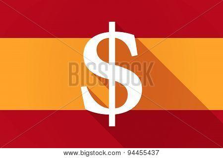 Spain Long Shadow Flag With A Dolar Sign