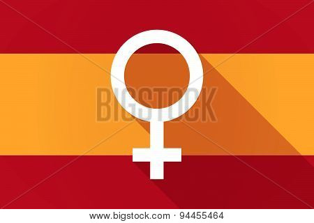 Spain  Long Shadow Flag With A Female Sign