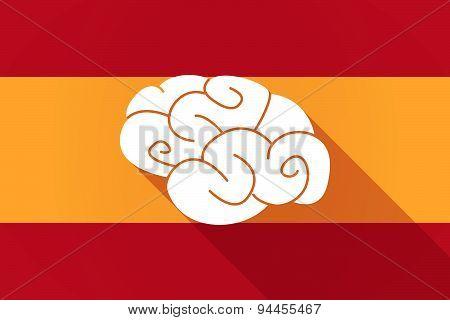 Spain Long Shadow Flag With A Brain