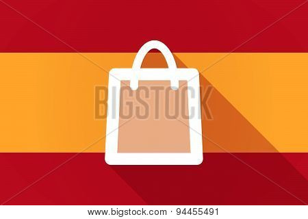 Spain Long Shadow Flag With A Shopping Bag