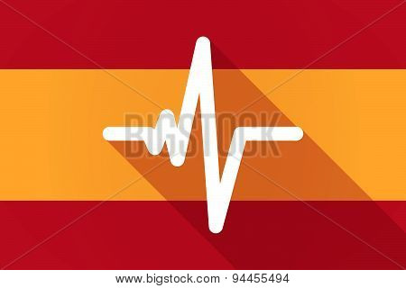 Spain Long Shadow Flag With A Heart Beat Sign
