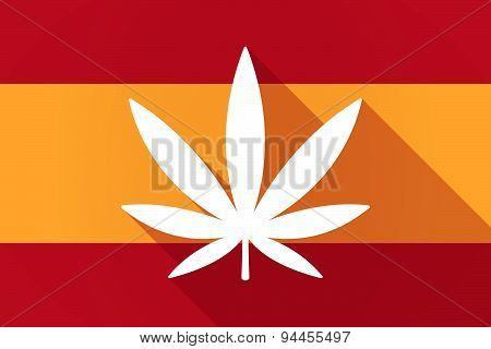 Spain  Long Shadow Flag With A Marijuana Leaf