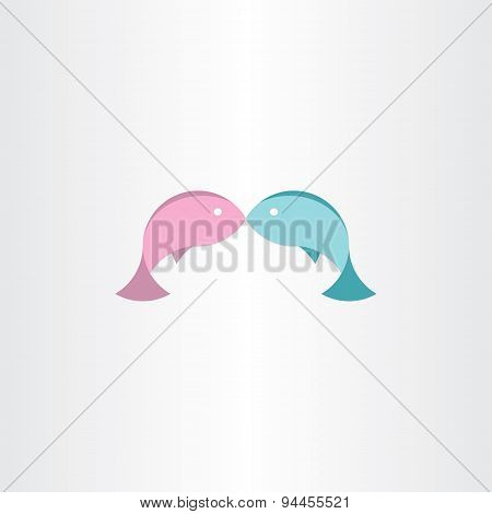 Fish In Love Abstract Icon
