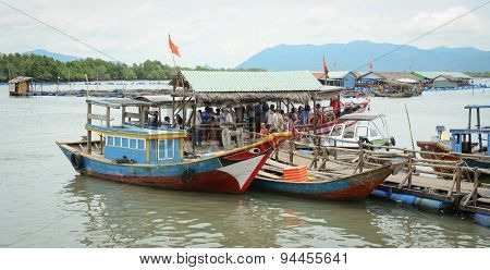 Fishing Boats Have A Rest At The City River Port In Vietnam