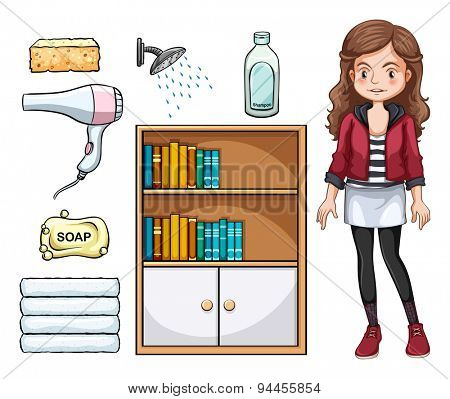 Girl and set of household objects