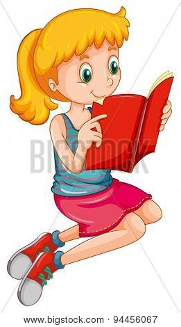 Cute girl reading a storybook alone