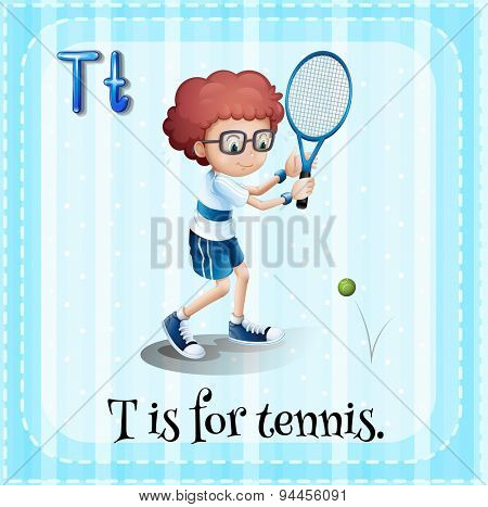 Flashcard letter T is for tennis
