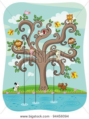 Different kind of animals fishing on the tree
