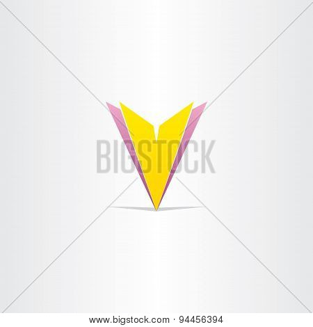 Yellow And Purple Letter V Symbol