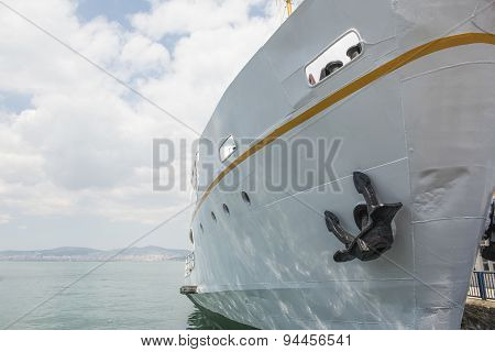 Bow Of Large Ship Moored At A Dock