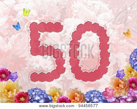 Number 50, Flower Background