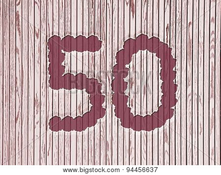 Number 50, Striped Wooden Background