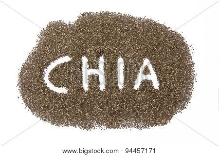 Heap Of Chia Seeds With Hand Written Name