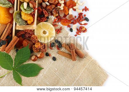 Assortment of dried fruits and nuts, isolated on white