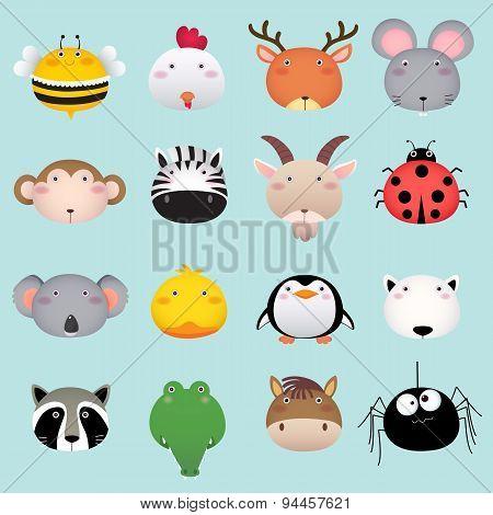 Cute Cartoon Animal Head Set 2