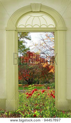 View Through Arched Door, Autumnal Park