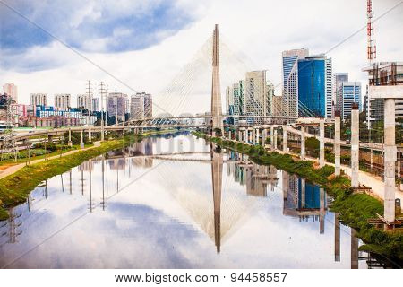 Beautiful Estaiada Bridge in Sao Paulo landmark,  Brazil. Latin America.