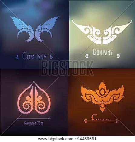 Vector Set Of Thai Ornament Design And Decoration On On Blur Background, Thai Design
