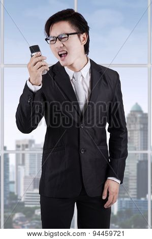 Angry Entrepreneur Yelling On His Phone