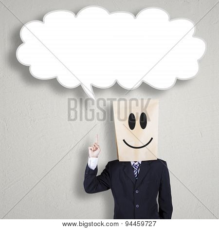 Anonymous Businessman Pointing At Blank Bubble