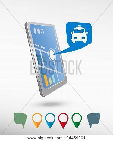 Taxi Icon And Perspective Smartphone Vector Realistic