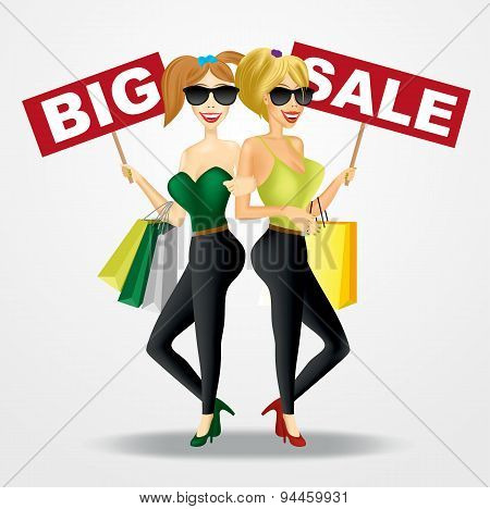 two smiling beautiful women with big sale banners