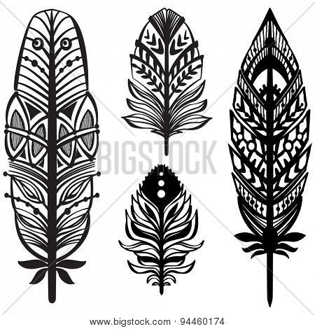 Set of ethnic tribal feathers